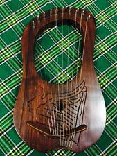 New Celtic Lyre Harp 10 Metal Strings Engraved Free Tuning Key & Case/Lyra Harp