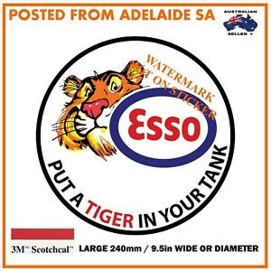 NEW VINTAGE ESSO TIGER GASOLINE  Large Decal Sticker  DIA 240 MM HOT ROD