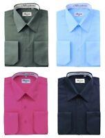 Berlioni Men's Long Sleeve One Pocket Standard Cuffs Solid Colors Dress Shirts