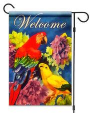 "New Parrots & Flowers Welcome Garden Flag 12""X18"" Summer Birds Decorative Flag"