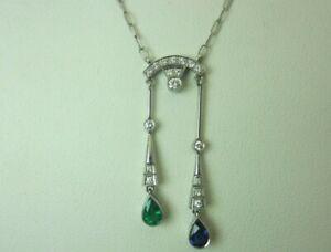 Vintage Antique Platinum Emerald Blue Sapphire and Diamond Necklace