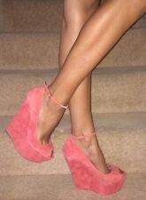 Carvela Kurt Geiger Pink Coral Suede Ankle Strap Platform Wedge Heel Shoes 7 40