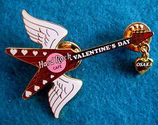 OSAKA JAPANESE VALENTINE'S ANGEL WINGS HEART DANGLE GUITAR Hard Rock Cafe PIN LE