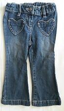 Jeans Hose Mädchen 92  C&A Palomino blau verstellbarer Bund Stickerei J7