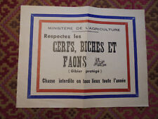 ancienne affichette chasse