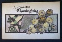 Lady Pilgrim & Flowers~A/s Cobb Shinn ~1909 ~Thanksgiving Postcard-a611