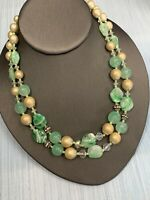 Vintage 1950s Mint Green Pearl AB Glass Crystal Necklace Hook Clasp 2 Strand
