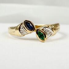 Ring in 585 Gold mit Safir, Smaragd und Diamant