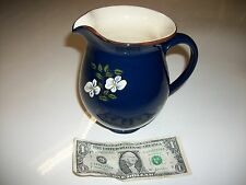 Hand thrown, glazed and decorated Navy Blue Vase, signed.