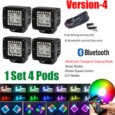 "4x 3""inch CREE LED Work Light Flood Fog Pods w/ RGB Halo Ring Chasing Bluetooth"