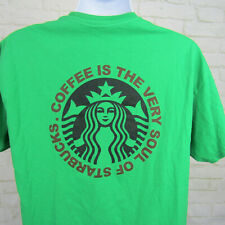 Starbucks Coffee Employee T-Shirt Coffee is the Soul Sz Large Green Graphic