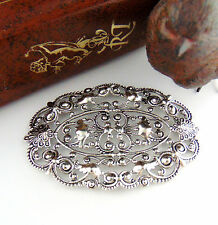 ANTIQUE SILVER Large Oval Floral Filigree Stamping ~ Finding (C-1006) `