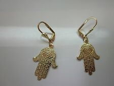 14k gold filled hamsa hand good luck leverback earring