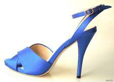 new $650 YSL Yves Saint Laurent Eva blue satin platforms shoes 41 US 11 - SEXY