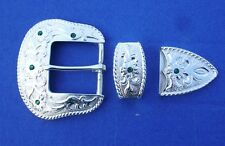 "Western Cowboy/Cowgirl Bling Bright Silver Plated 1 1/2"" Crystal Buckle Set"