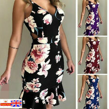 UK Women Holiday Strappy Floral Bodycon dress Summer Beach Party Dress plus size