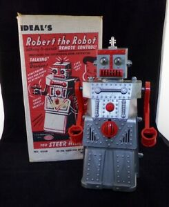 Vintage 1950s Ideal Robert The Robot Mechanical Toy In Original Box
