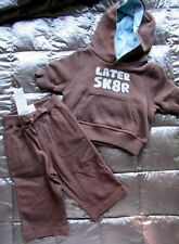 NWT GYMBOREE 2 pc LATER SKATER SK8R OUTFIT Brown Hoodie & Pants Sz 3-6 mo