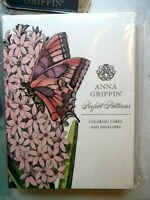 Anna Griffin Butterflies Coloring Cards & Envelopes & 9 Stamps Sealed   (Unused)