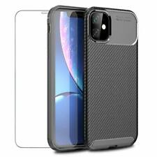 Coque iPhone 11 Etui Housse Anti-Choc Silicone TPU Mince Noir + Verre Trempé