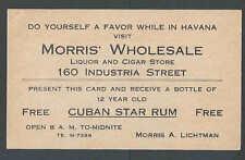 Ca 1916 Morris Wholesale Havana Cigars & Liquors Offers Free 12 yr Old Rum