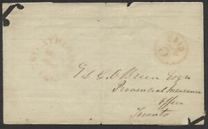 1851 SFL, St Catharines UC to Toronto, Circled PAID 3d, Faults