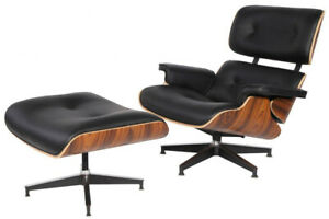 Mid-Century Plywood Lounge Chair & Ottoman Premium Black Leather Palisander