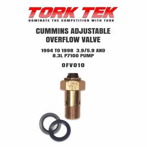 TORK TEK ADJUSTABLE OVERFLOW VALVE FOR CUMMINS 12V P7100 PUMP - OFV010