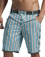 GERONIMO Mens Striped Board Active Sports Short Striped Summer Casual