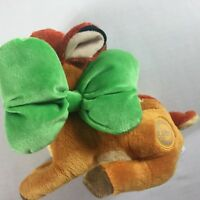 """Disney Store Bambi Plush Authentic Stamped Stuffed 9"""" Toy Beans Green Bow Easter"""