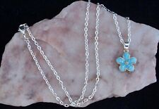 Blue Enamel Peach Blossom Flower, 925 Silver Plated Chain Necklace. Handmade