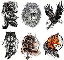 Temporary Tattoos (Set of 6) Dragon Fox Wolf Lion Eagle Skull Tribal Tattoo