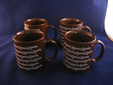 4 KAHLUA COFFEE MUGS BROWN HEAVY VINTAGE MADE IN KOREA NEW OLD STOCK PERFECT SET