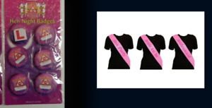 Hen pack = 5 Hen & 1 L-Plate badge 5 Hen party 1 Bride to be 1 bridesmaid sashes