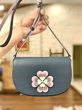 Kate Spade Reiley Flap Crossbody Flower Applique Saddle Bag Handbag Purse NWT