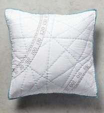 Anthropologie SEADRIFTER Pillow Sham EURO Quilted Nautical Compass Cotton NWT