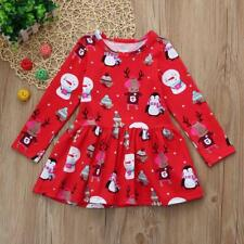 Christmas Toddler Kid Baby Girl Clothes Long Sleeve Pageant Party Princess Dress