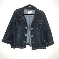 AMI Womens Size Large Denim Crop Jacket Stretch 3/4 Sleeve Jean Coat