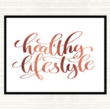 Rose Gold Healthy Lifestyle Quote Mouse Mat Pad