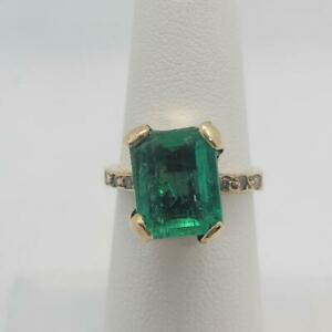 GIA Certified Natural Colombian Emerald Ring 18K Y Gold Diamonds