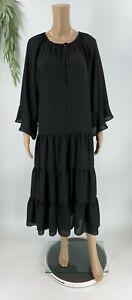 Textile Elizabeth & James Womens Maxi Dress Size XS Black Peasant Boho Ruffle