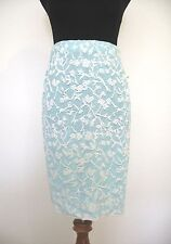 St John Sport Knit Turquoise and White Floral Skirt