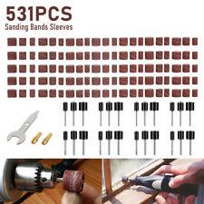 531PCS Sanding Bands Drum Sleeve 80-600Grit 5 Mandrel for Dremel Rotary Tool Kit