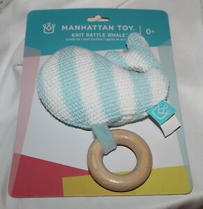 New Baby Manhattan Toy Whale Knit Wood Teether Rattle Activity Toy Sea Unisex