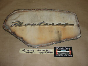OEM 1963 63 Mercury Monterey FENDER SCRIPT EMBLEM BADGING WALL ART MAN CAVE