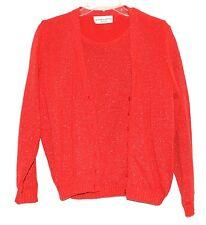 Victoria Jones Red w/ Gold Metallic Short Sleeve Sweater + Cardigan Set Sz PM
