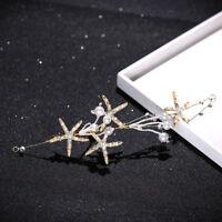 Bridal Pearl Starfish Rhinestone Princess Tiara Headband Wedding Prom Hair Clip