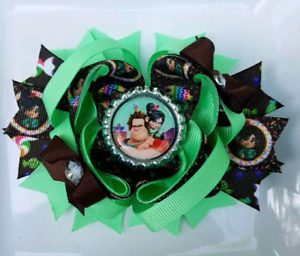 """Wreck It Ralph Vanelope Mint Green Brown Multi Colored Bottle Cap Hair Bow 5"""""""