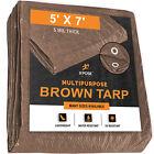 Brown Poly Tarp Cover 5' X 7' Multi-Purpose 5 Mil, Tent Shelter RV Camping Tarp