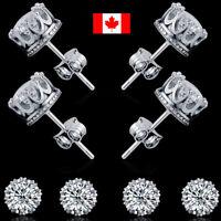 Pair stainless steel crystal Stud Earrings Crown Fashion Women Men Jewelry